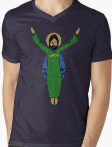 Touchdown Jesus Vintage Mens V-Neck T-Shirt
