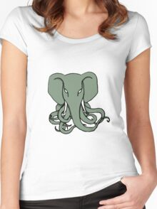 Elephant Octopus Women's Fitted Scoop T-Shirt