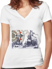 Sail Away  Women's Fitted V-Neck T-Shirt