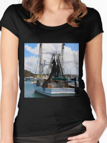 Moored Boat in Harbour Women's Fitted Scoop T-Shirt