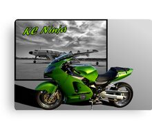 """KC Ninja"" Flying around Kansas City on two wheels Canvas Print"
