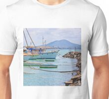 Moored Boats near rock wall Unisex T-Shirt