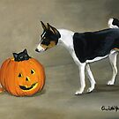 Basenji and Black Cat by Charlotte Yealey