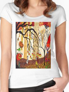 Halloween Forest Women's Fitted Scoop T-Shirt