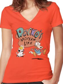 Rocko's Modern Life Women's Fitted V-Neck T-Shirt