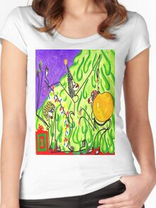 The gals decorate the tree Women's Fitted Scoop T-Shirt
