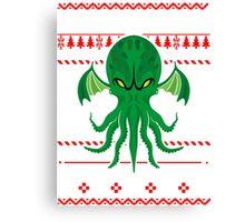 Cthulhu Ugly Christmas Sweater Canvas Print