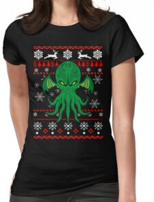 Cthulhu Ugly Christmas Sweater Womens Fitted T-Shirt