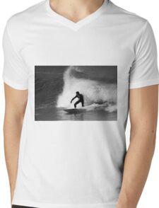 Surfer in Black And White Mens V-Neck T-Shirt