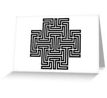 Geometric Maze Pattern Swastika - Black Greeting Card