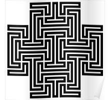 Geometric Maze Pattern Swastika - Black Poster