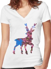 Sawsbuck (spring) used aromatherapy Women's Fitted V-Neck T-Shirt