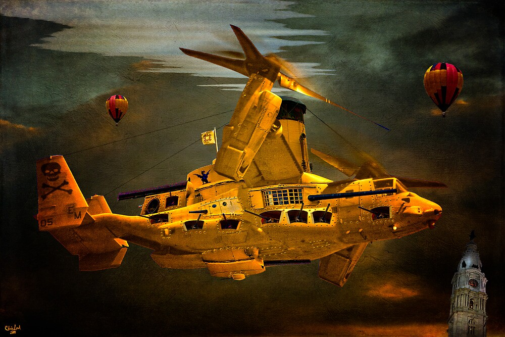 """The Osprey"" - A  Golden Steam Powered Flying Gunship by Chris Lord"