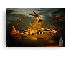 """The Osprey"" - A  Golden Steam Powered Flying Gunship Canvas Print"