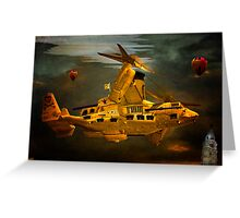 """The Osprey"" - A  Golden Steam Powered Flying Gunship Greeting Card"