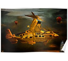 """The Osprey"" - A  Golden Steam Powered Flying Gunship Poster"