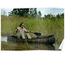 Austin Stevens canoeing through saw-grass Poster