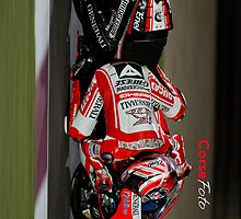 Nicky Hayden Dragging knee at Qatar iPhone Case. by corsefoto