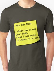 From The Boss Sticky Note T-Shirt