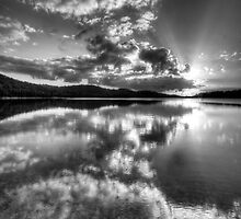 Black & White Reflections - Narrabeen Lakes, Sydney Australia - The HDR Experience by Philip Johnson