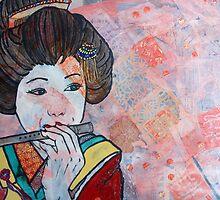 Geisha playing the flute by Lozenga