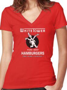 White Tower Women's Fitted V-Neck T-Shirt
