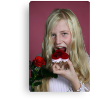 Girl eating a cake Canvas Print