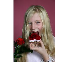 Girl eating a cake Photographic Print