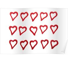 Hearts on white background  Poster