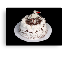 White cake on the black background. Canvas Print
