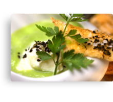 Green Peas 4 Soup With Spicy Pastry and Nigella Sativa Canvas Print