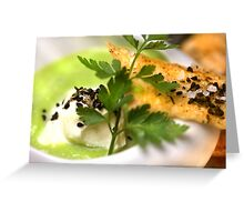 Green Peas 4 Soup With Spicy Pastry and Nigella Sativa Greeting Card