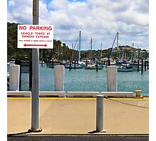 No Parking Sign beside a Harbour Photographic Print
