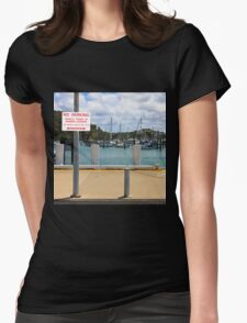 No Parking Sign beside a Harbour Womens Fitted T-Shirt