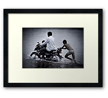 river crossing.... Framed Print