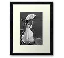 Bride with umbrella. BW. Framed Print