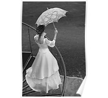 Bride with umbrella. BW. Poster