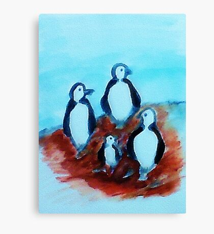 Teachers with their tiny pupil, watercolor Canvas Print