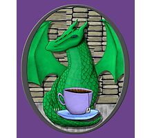 Book Hoarding Green Dragon with Tea Photographic Print