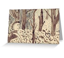 She Looks Among The Fallen Leaves Greeting Card