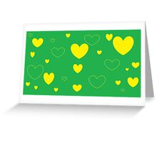 Green and Yellow Green and Yellow Hearts3 Greeting Card