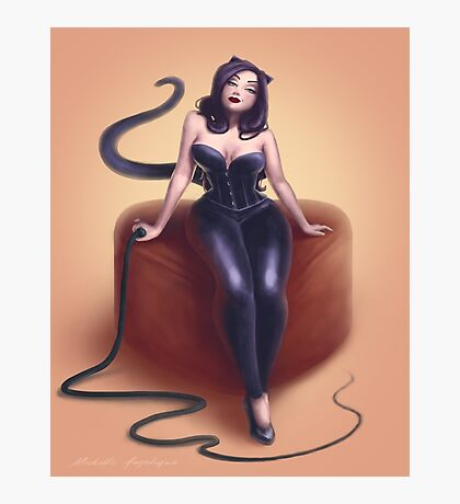 Cat woman pin up Photographic Print