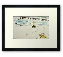 man photographing his dogs Framed Print