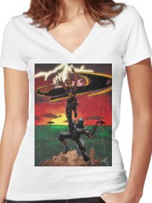 Black Panther & Storm Women's Fitted V-Neck T-Shirt