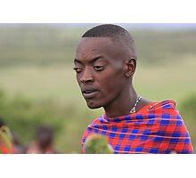 Maasai Warrior with Tribal Markings Photographic Print