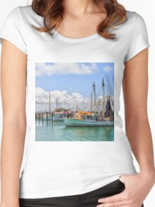 Moored Boats in a beautiful harbour Women's Fitted Scoop T-Shirt
