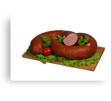 Sausage on the board. Canvas Print