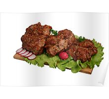 Smoked chicken kebab on wooden board. Poster