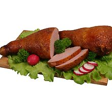 Smoked chicken on wooden board. by fotorobs