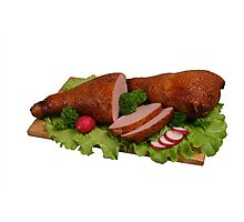 Smoked chicken on wooden board. Photographic Print